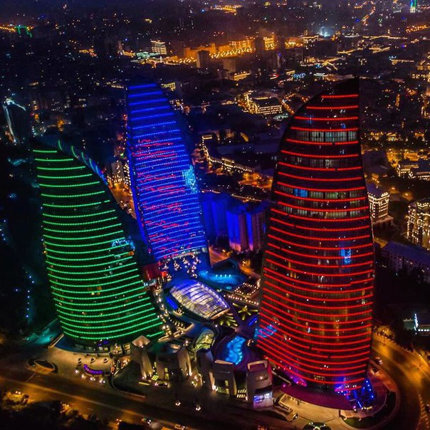 Flame Towers in colours of Azerbaijani flag