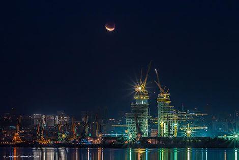 Moon in night Baku